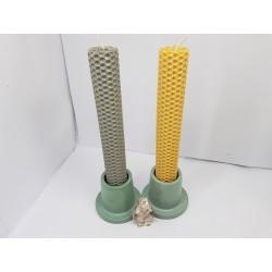 Set of candles Set of beeswax candles Set of candles with candlesticks Set of candles and candlesticks handmade