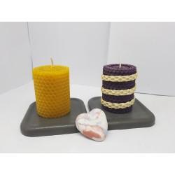 Candles Set of candles Set of beeswax candles Set of candles with holders Set of candles and holders handmade Handmade
