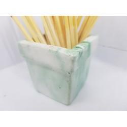 Beautiful handmade concrete match holder, white and green