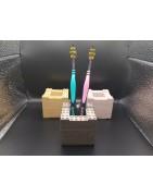Building block toothbrush holder