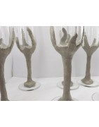 Красивые бокалы для шампанского ручной работы из бетона и стекла